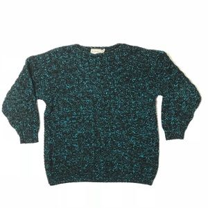 Vintage Firenze teal/black marled sweater